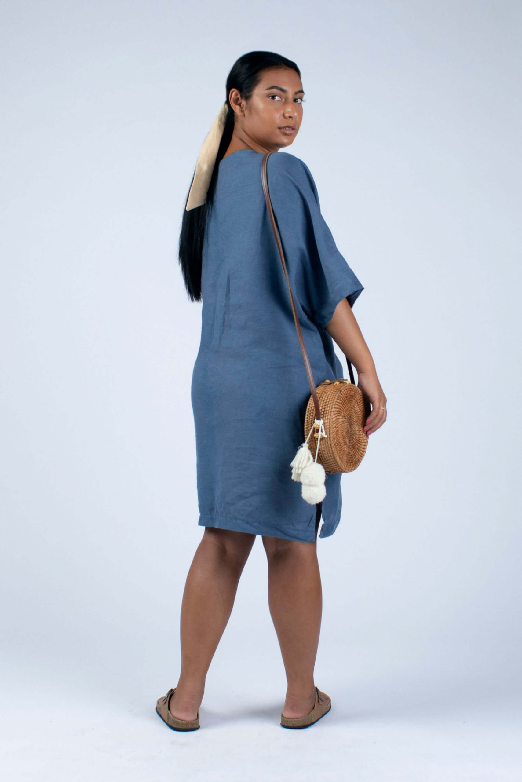M-L tunic without collar dyed jeans blue