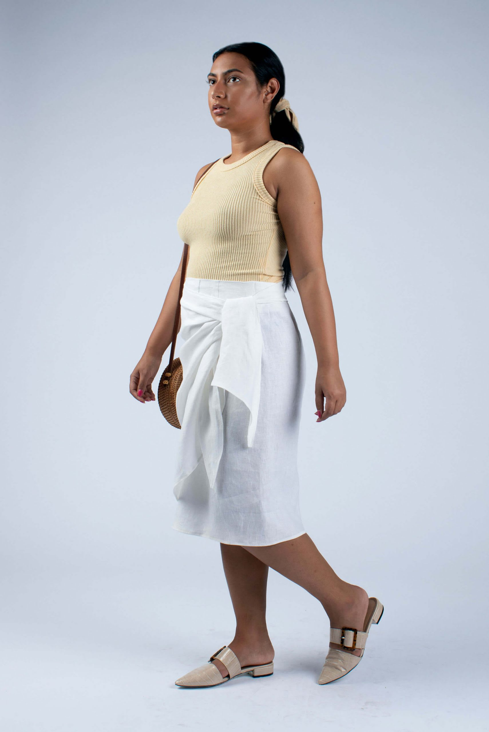 side view of Lydia white linen wrap skirt