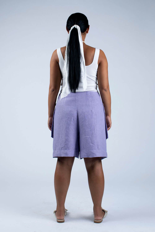 violet linen culottes back view