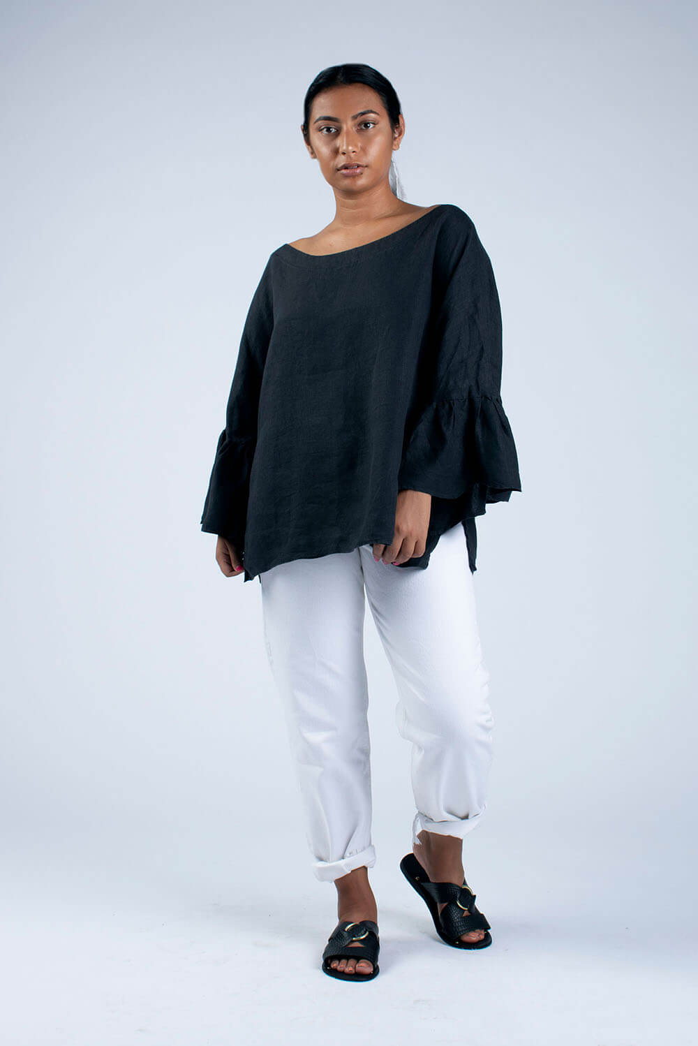 black linen blouse front view