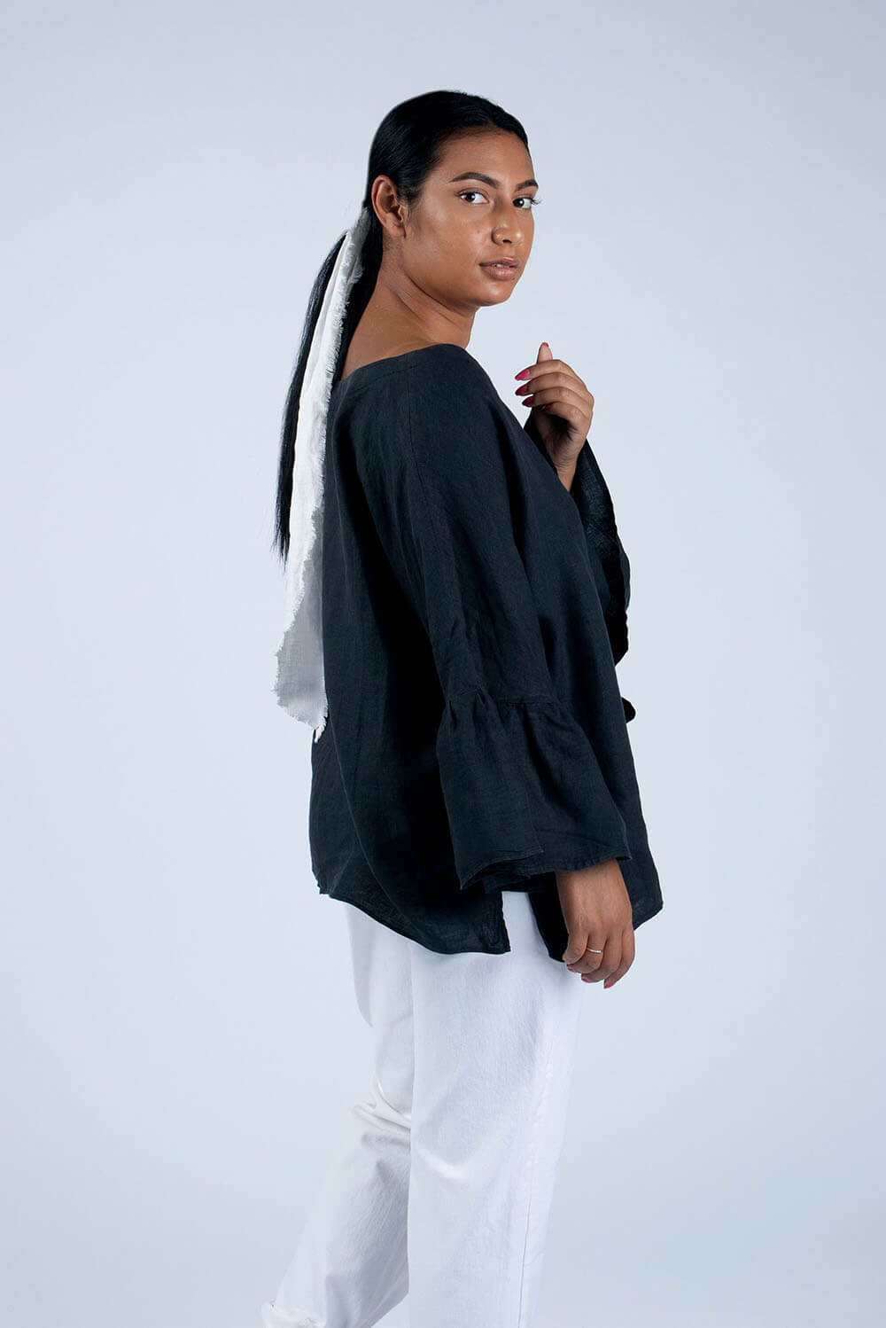 black linen blouse side view