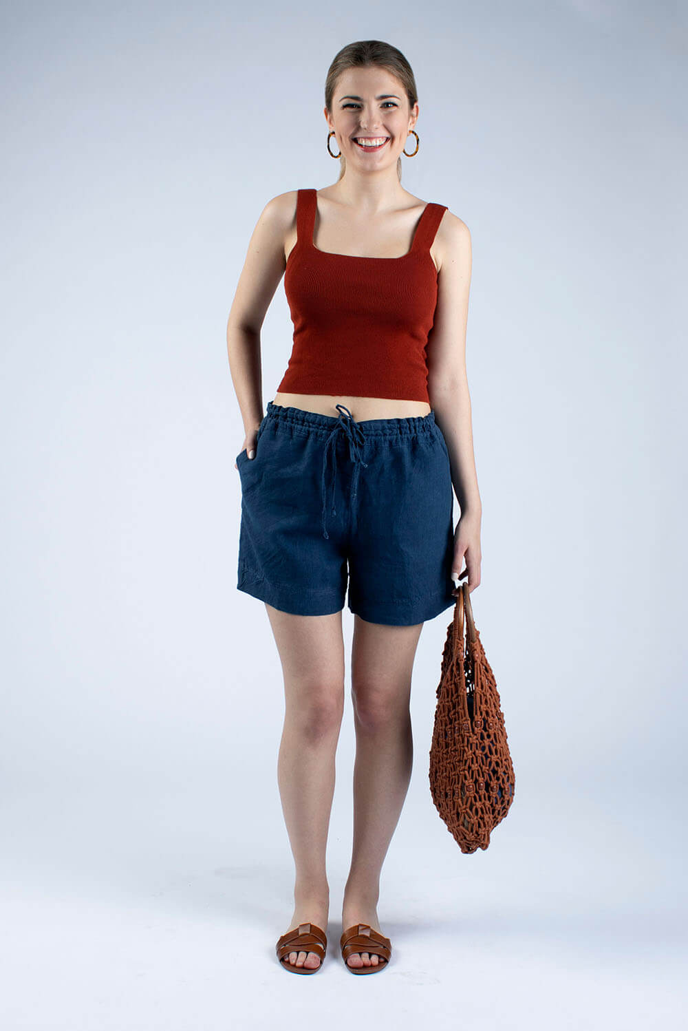 Navy linen draw string shorts Kathy by Cut Couture