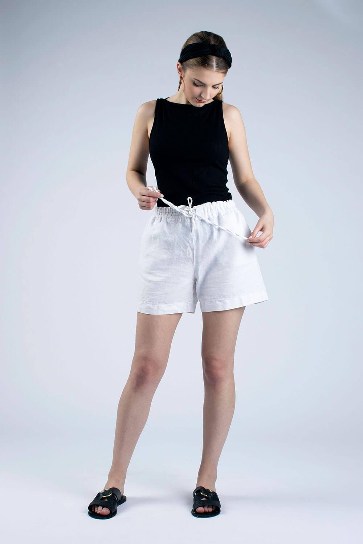 white linen draw string shorts Kathy