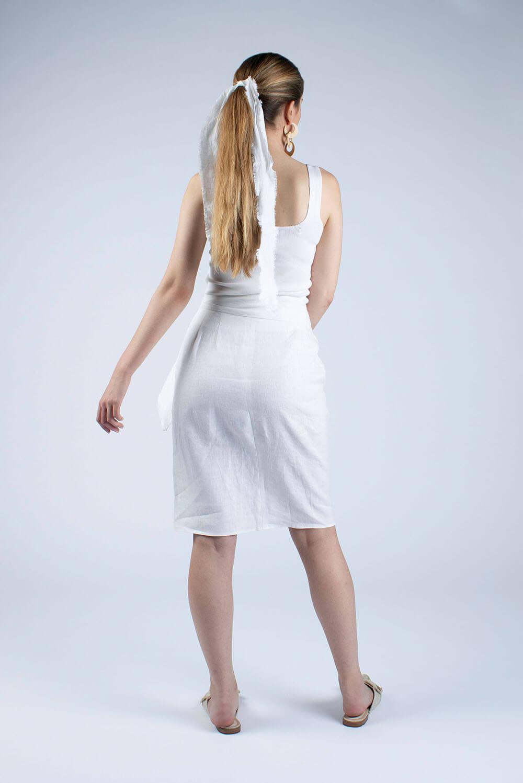 white linen wrap skirt back view