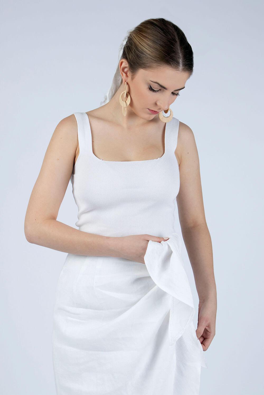 white linen wrap skirt Lydia