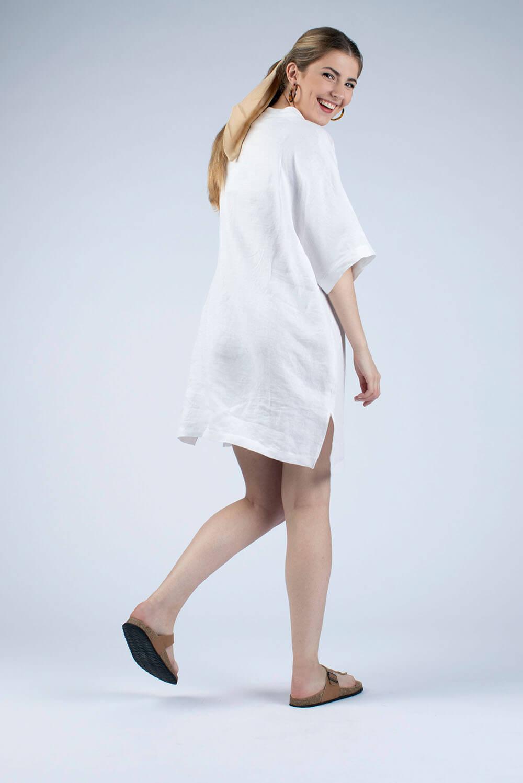 white linen tunic back view by cutcouturekit