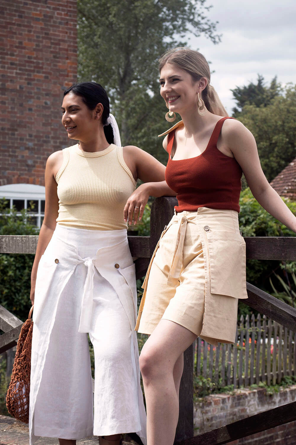 linen culottes in white and sandy beige