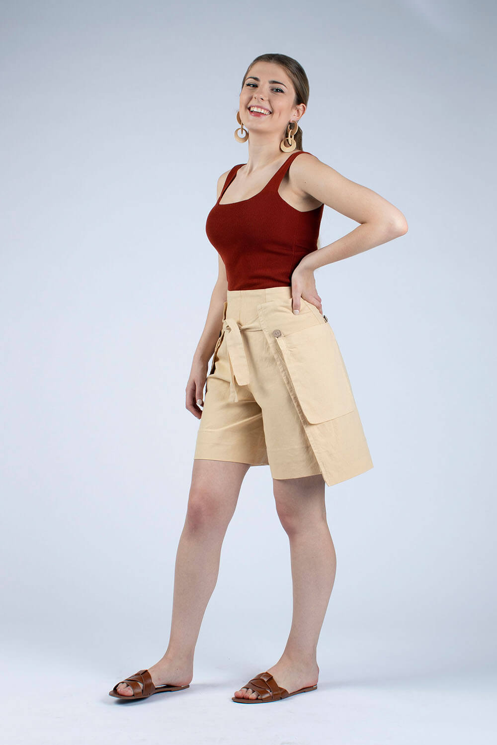 cropped linen culottes hand dyed sandy beige