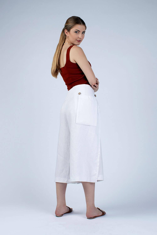 white linen wrap culottes side view