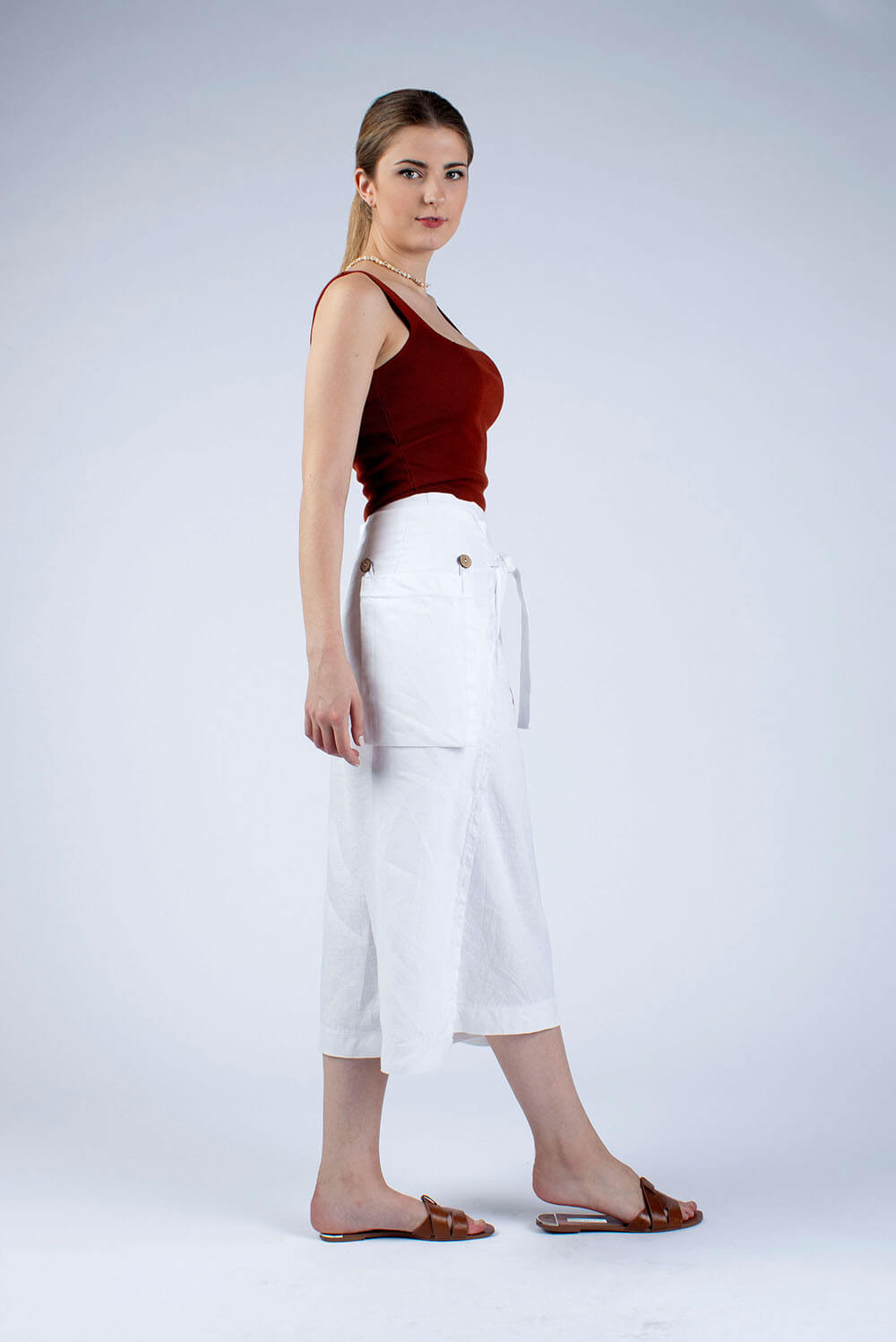 white linen culottes made from sewing kit