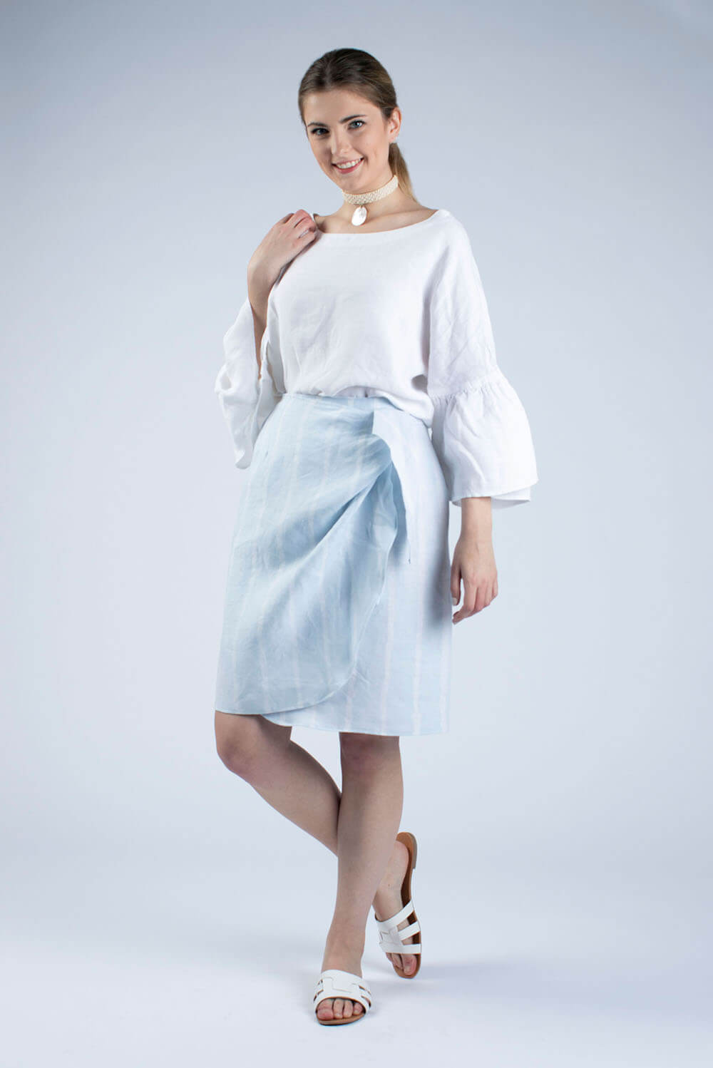 white Linen blouse made from clothes making kit by Cut Couture