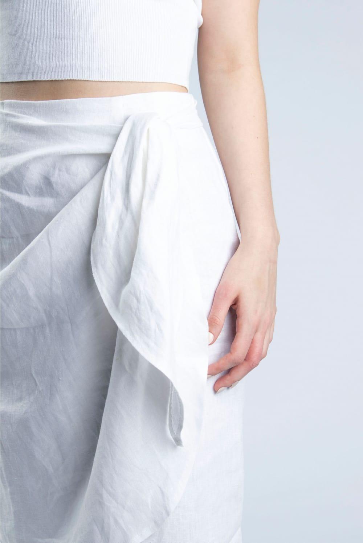 Cutcouturekit Lydia linen wrap skirt waist tie detail S-M