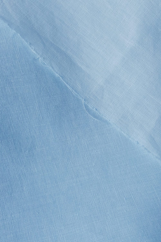 Close up of Dylon Vintage Blue shades on linen