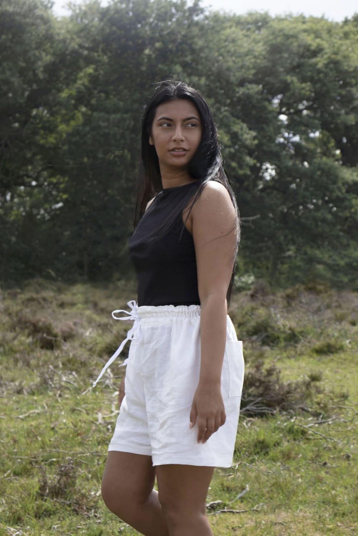 white linen drawstring shorts