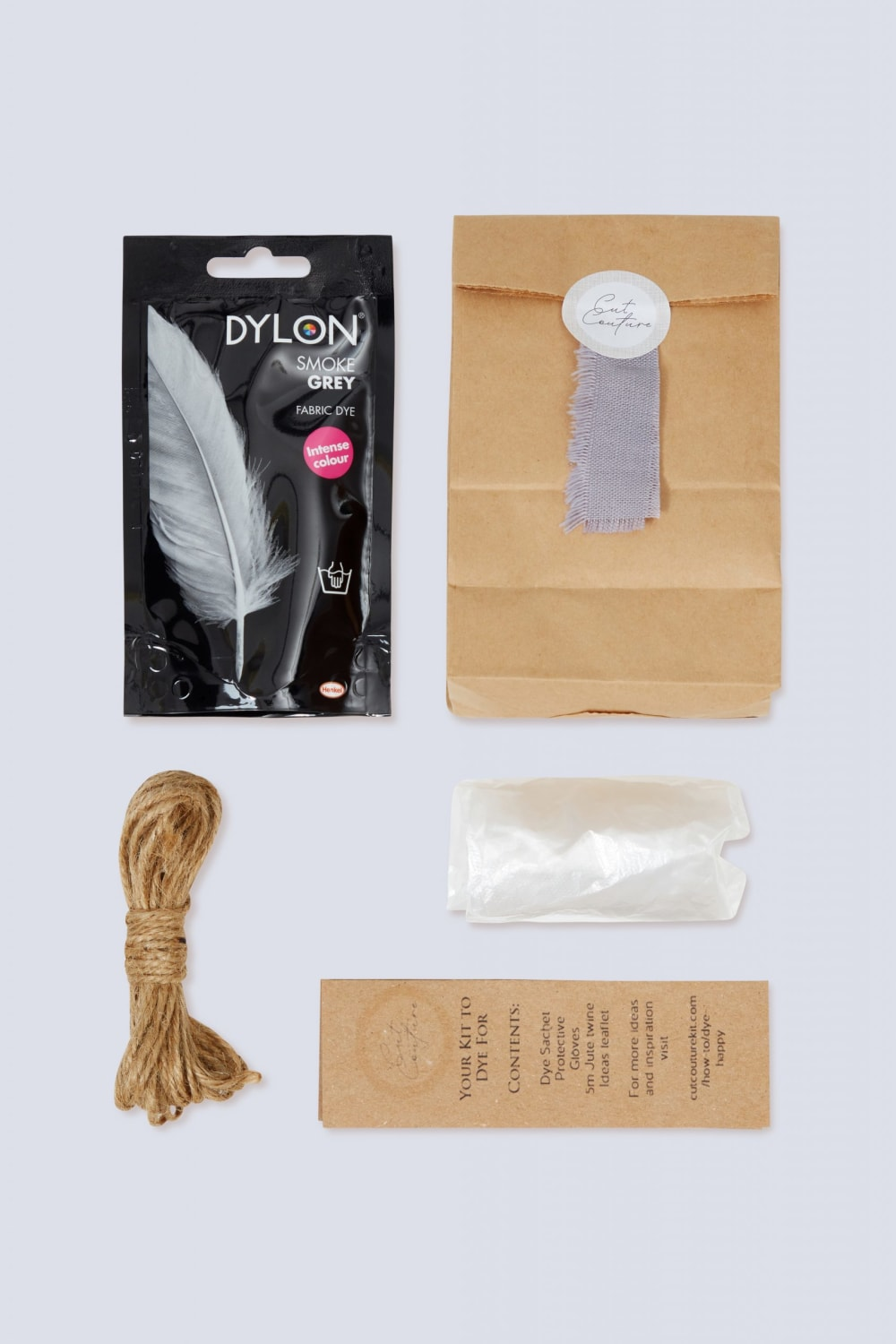 Smoke Grey Dylon dye jute twine gloves information leaflet with bag and colour swatch