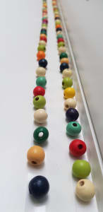 two lines of colourful beads