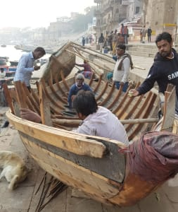 Hand building a wooden boat in Varanassi