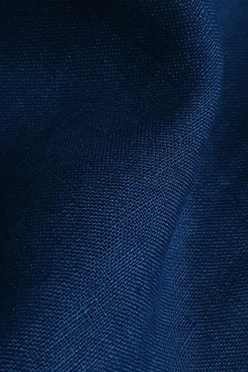 Detail of Linen dyed Jeans blue using Dylon hand dye