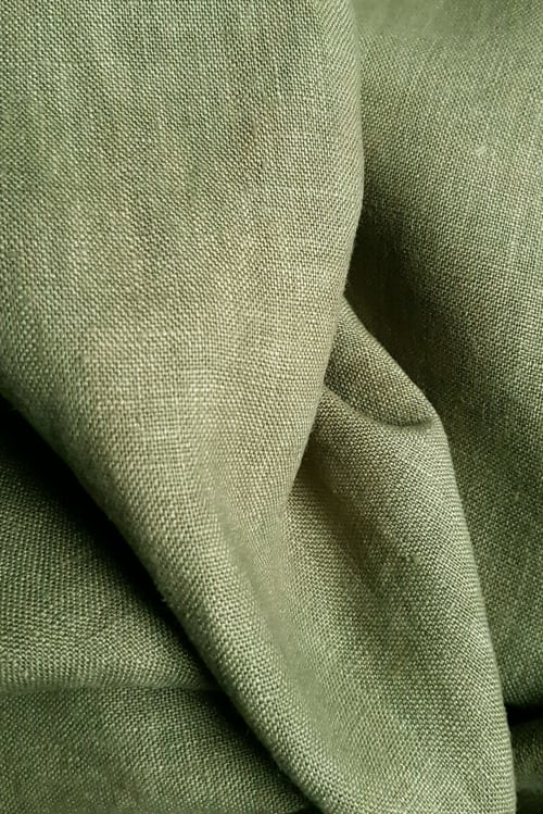 detail of linen hand dyed Olive Green