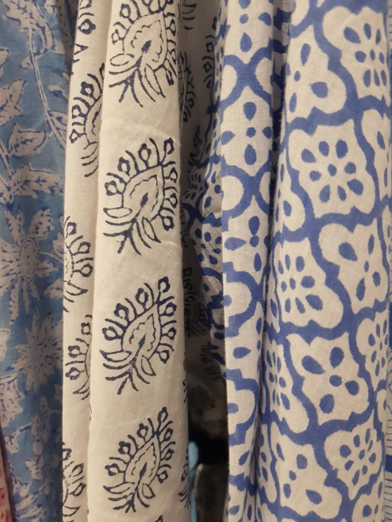 blue block printed fabric in India