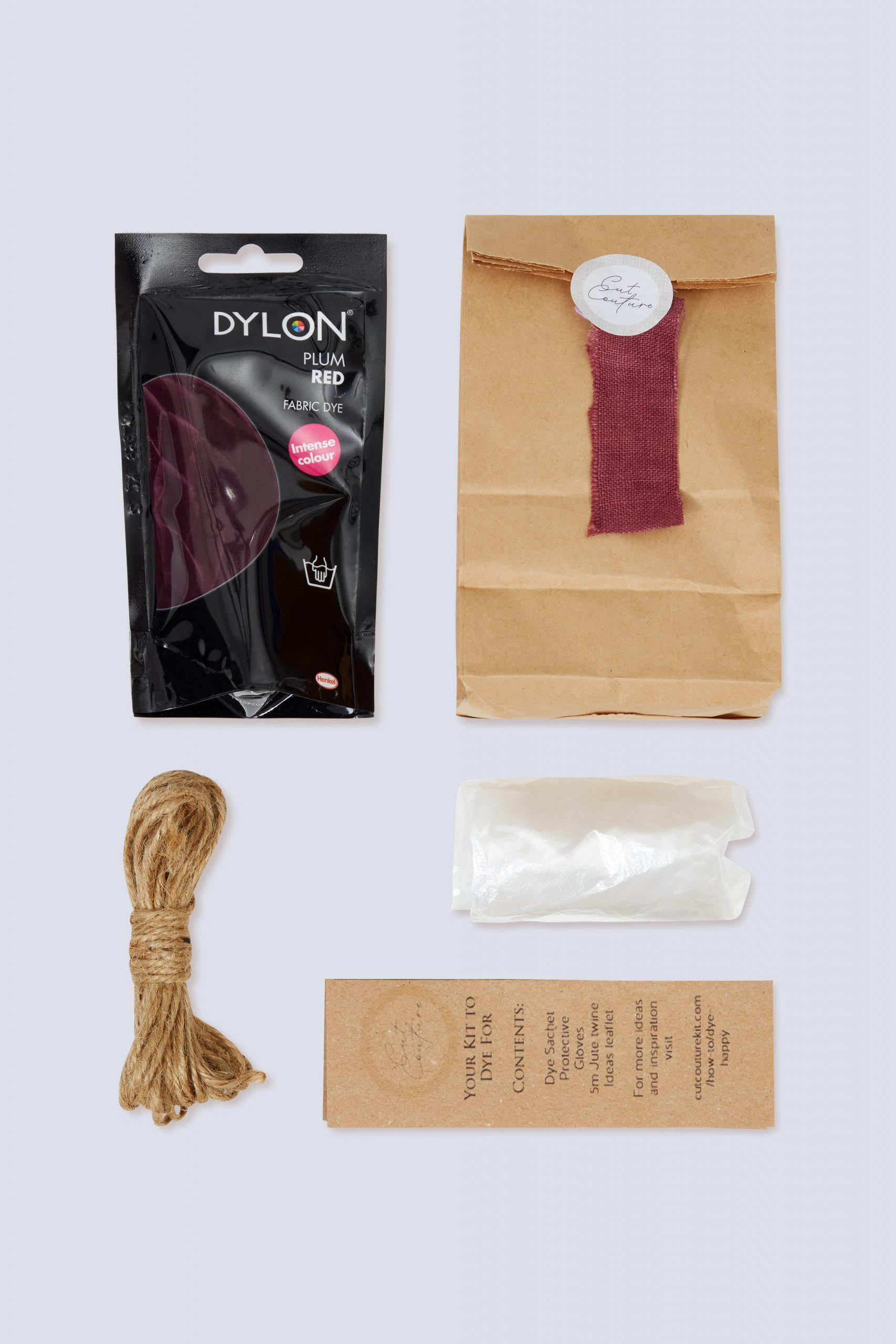 Plum Red Dylon dye jute twine gloves information leaflet with bag and colour swatch