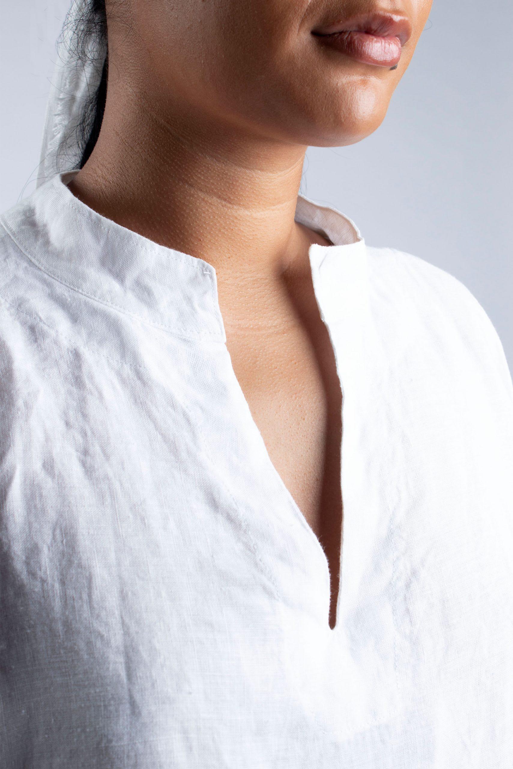 Cutcouturekit Helen linen Tunic collar detail