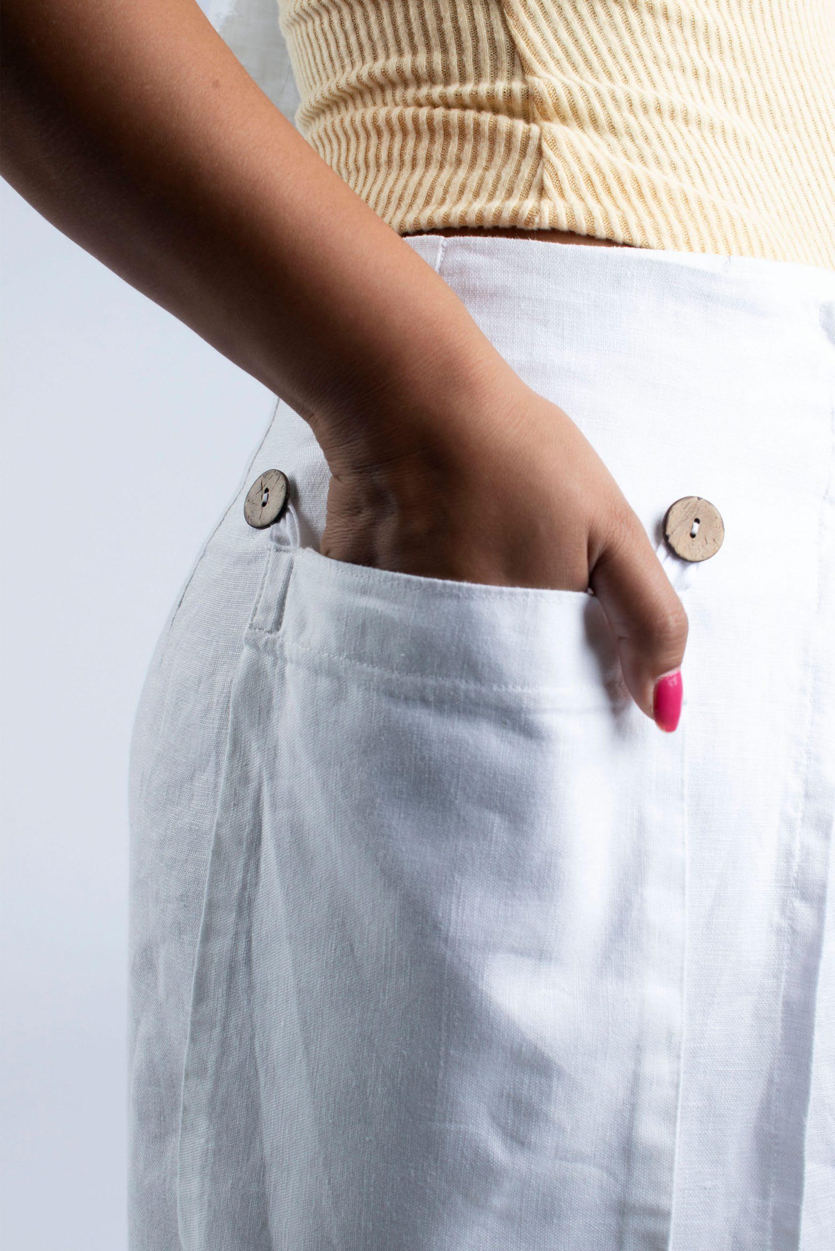 Cutcouturekit Hilary linen Culottes detachable pocket with coconut button M-L