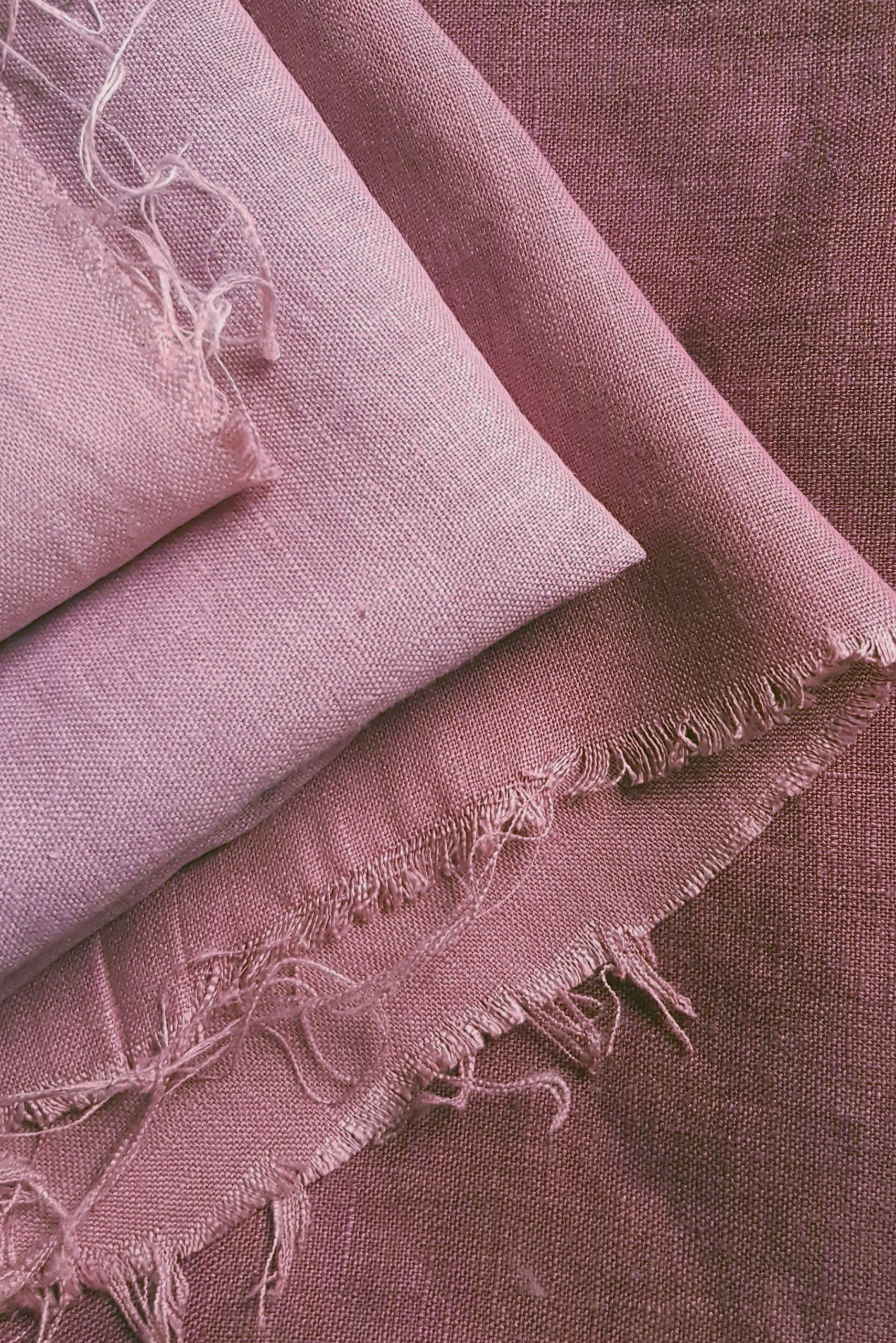 Shades of hand dyed Plum Red linen