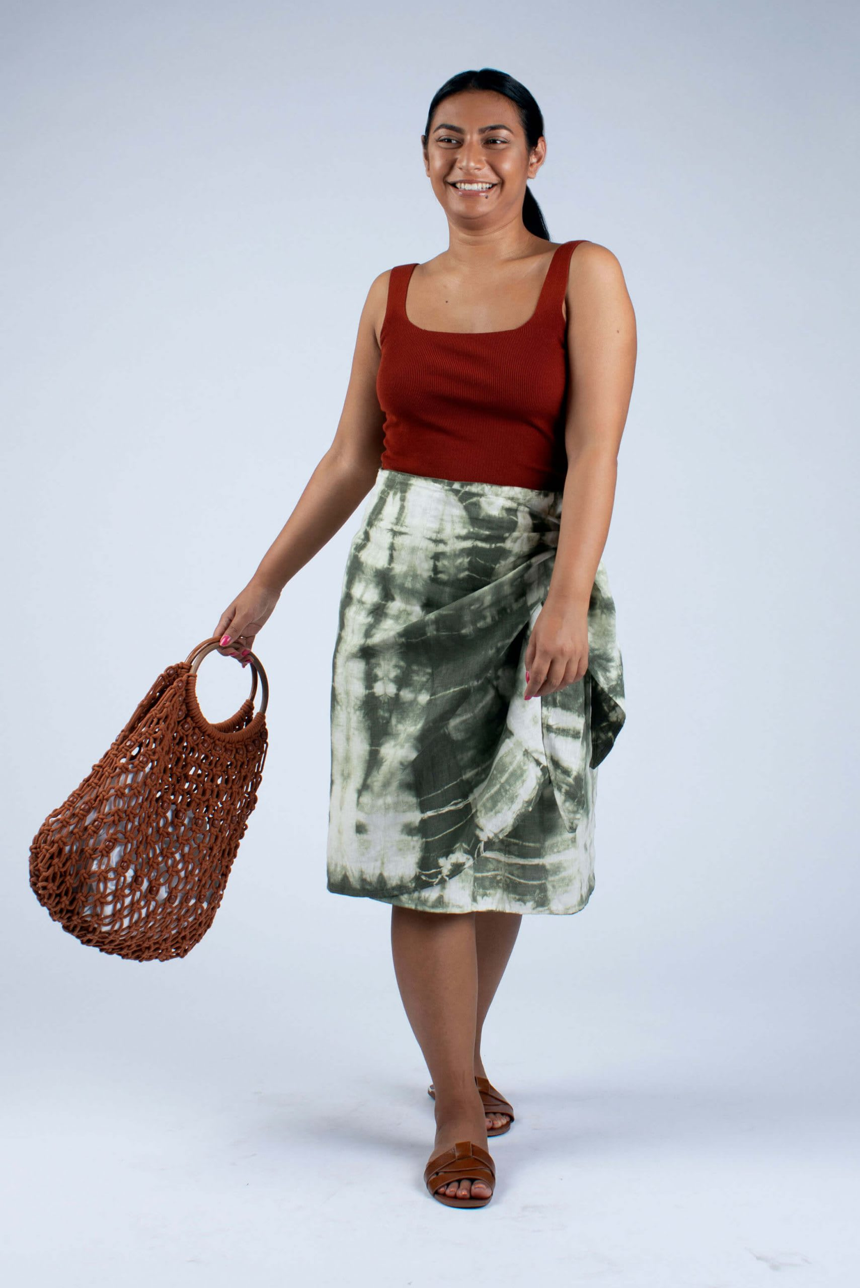 Lydia linen wrap skirt tie dyed olive green