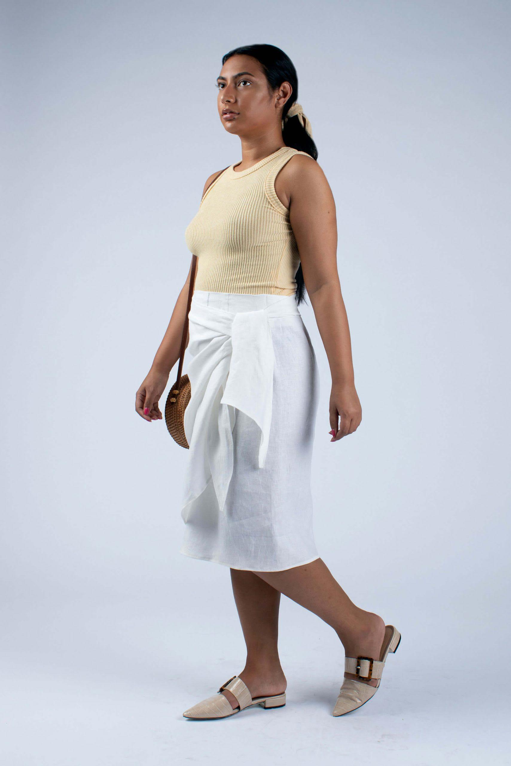 side view of Lydia white linen wrap skirt