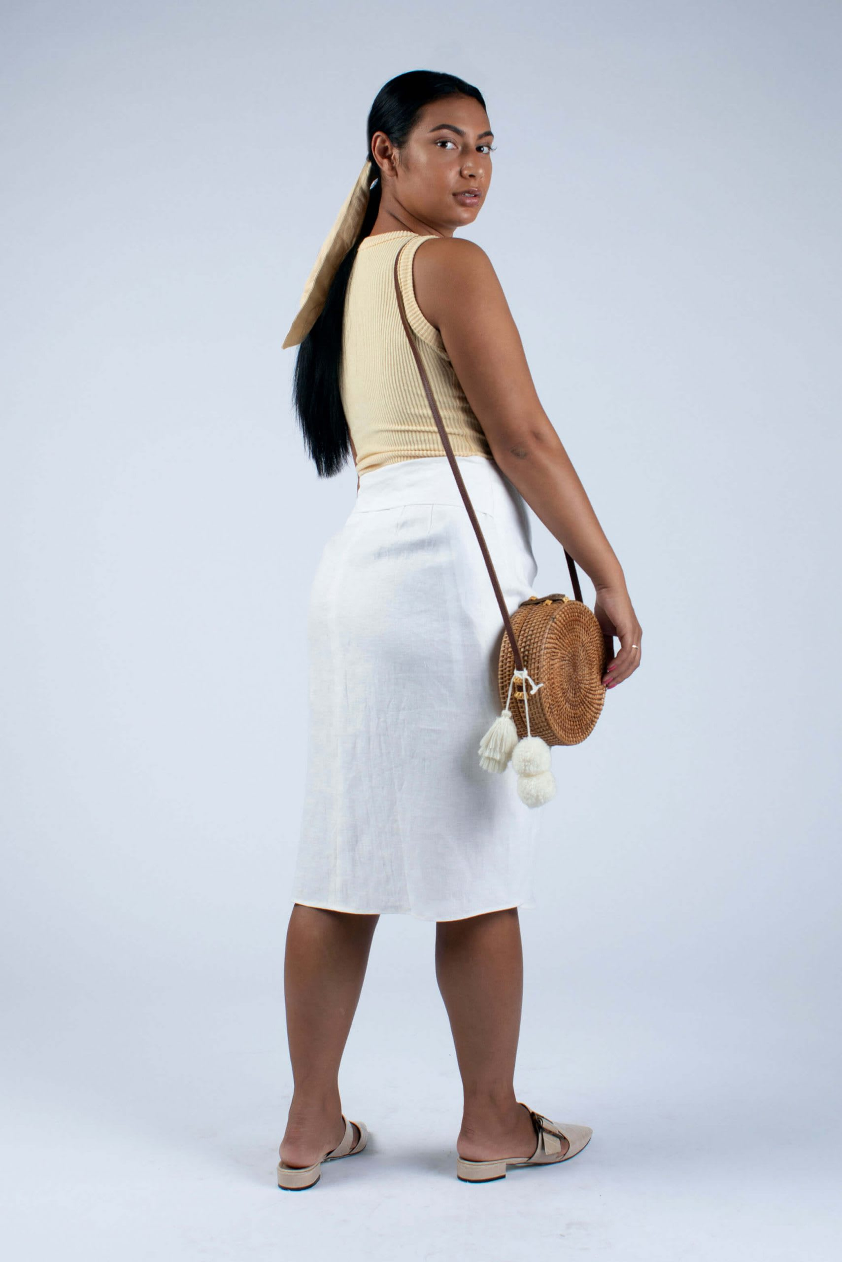 Back view of Lydia linen wrap skirt size M-L