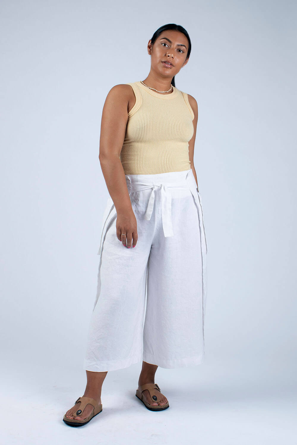 white linen culottes Hilary