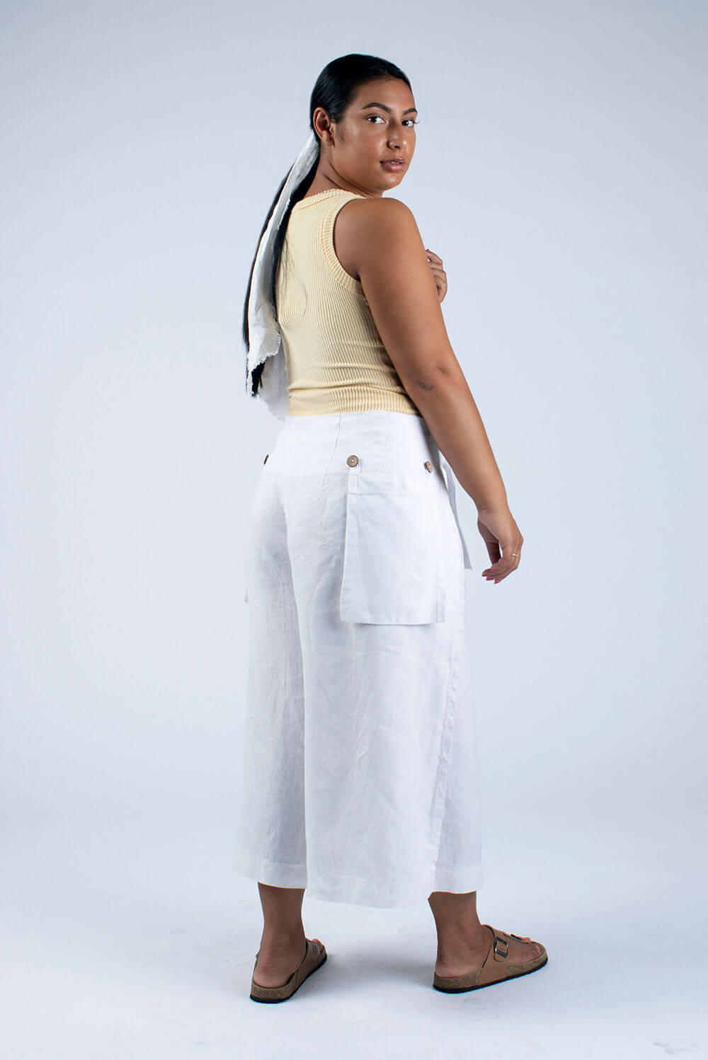 white linen culottes home sew kit