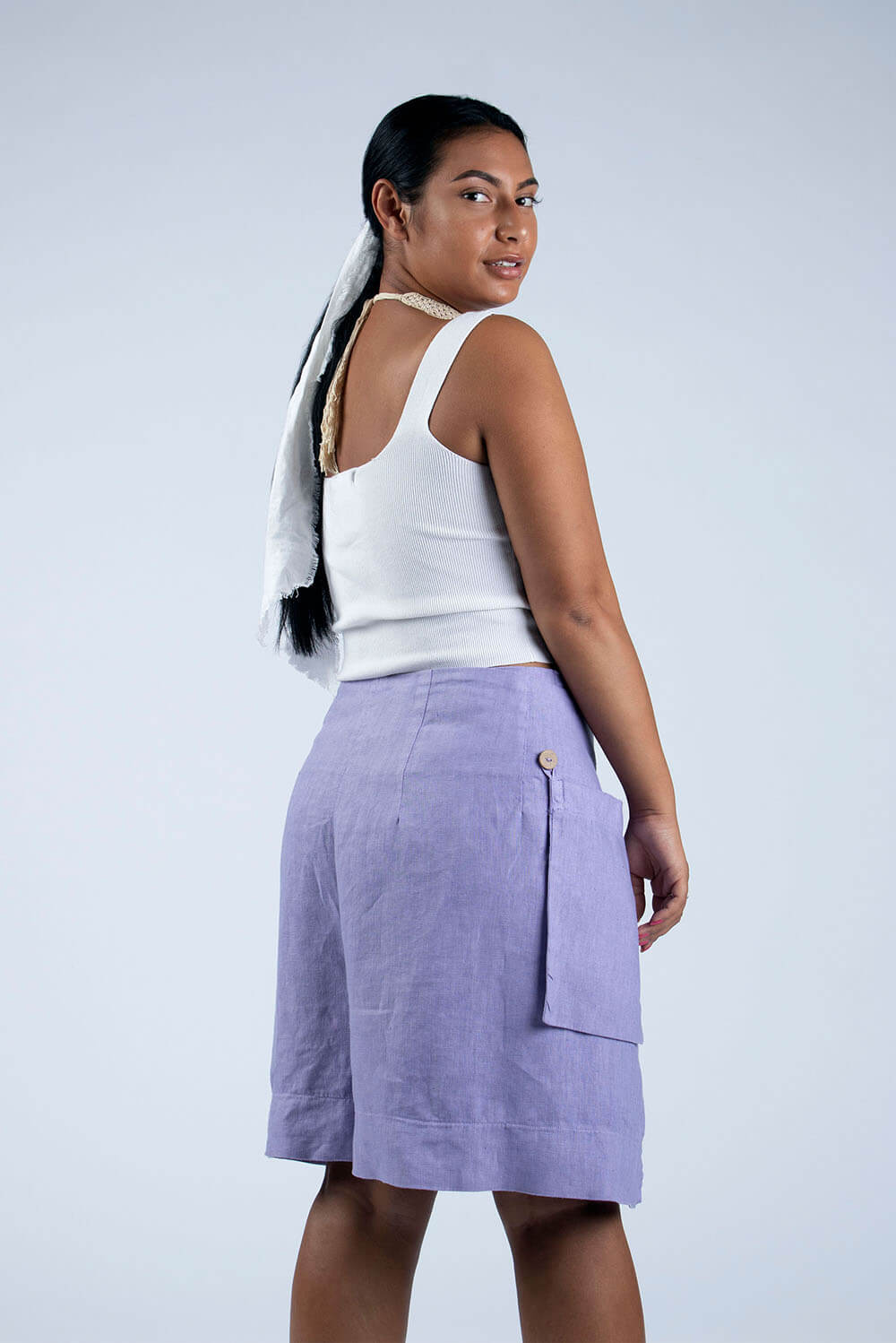 violet linen culottes cropped side view