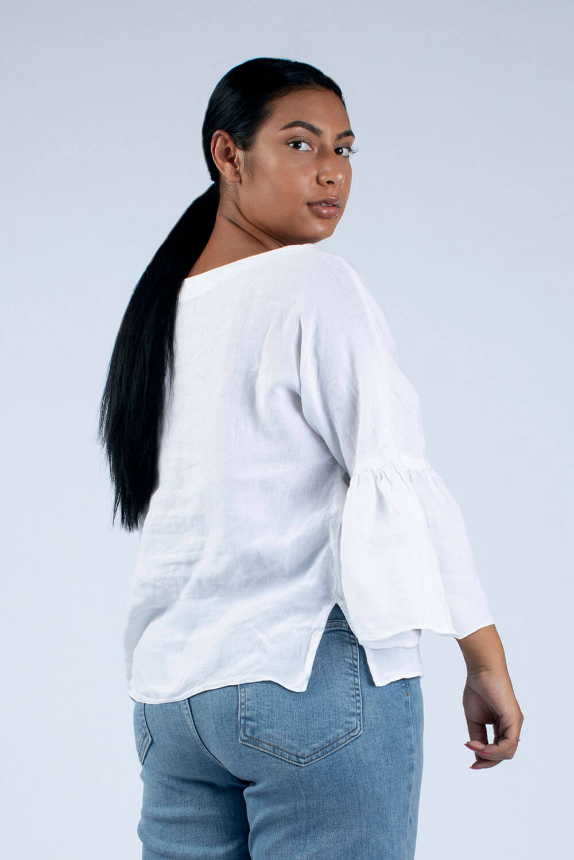 side view of Helen linen blouse