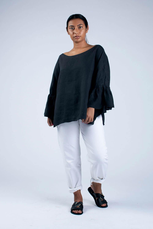 black linen blouse front view