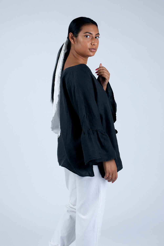 black linen blouse side view