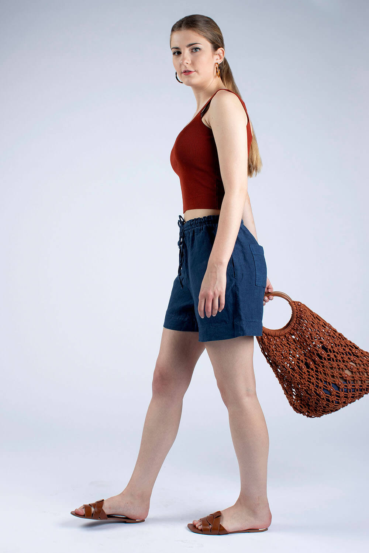navy linen drawstring shorts Kathy