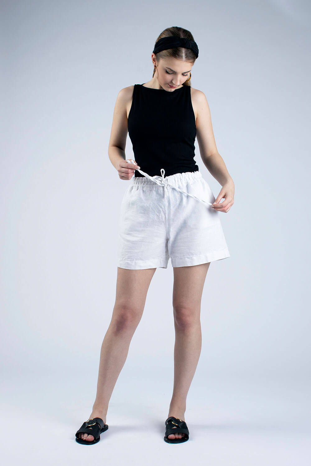 white linen draw string shorts Kathy