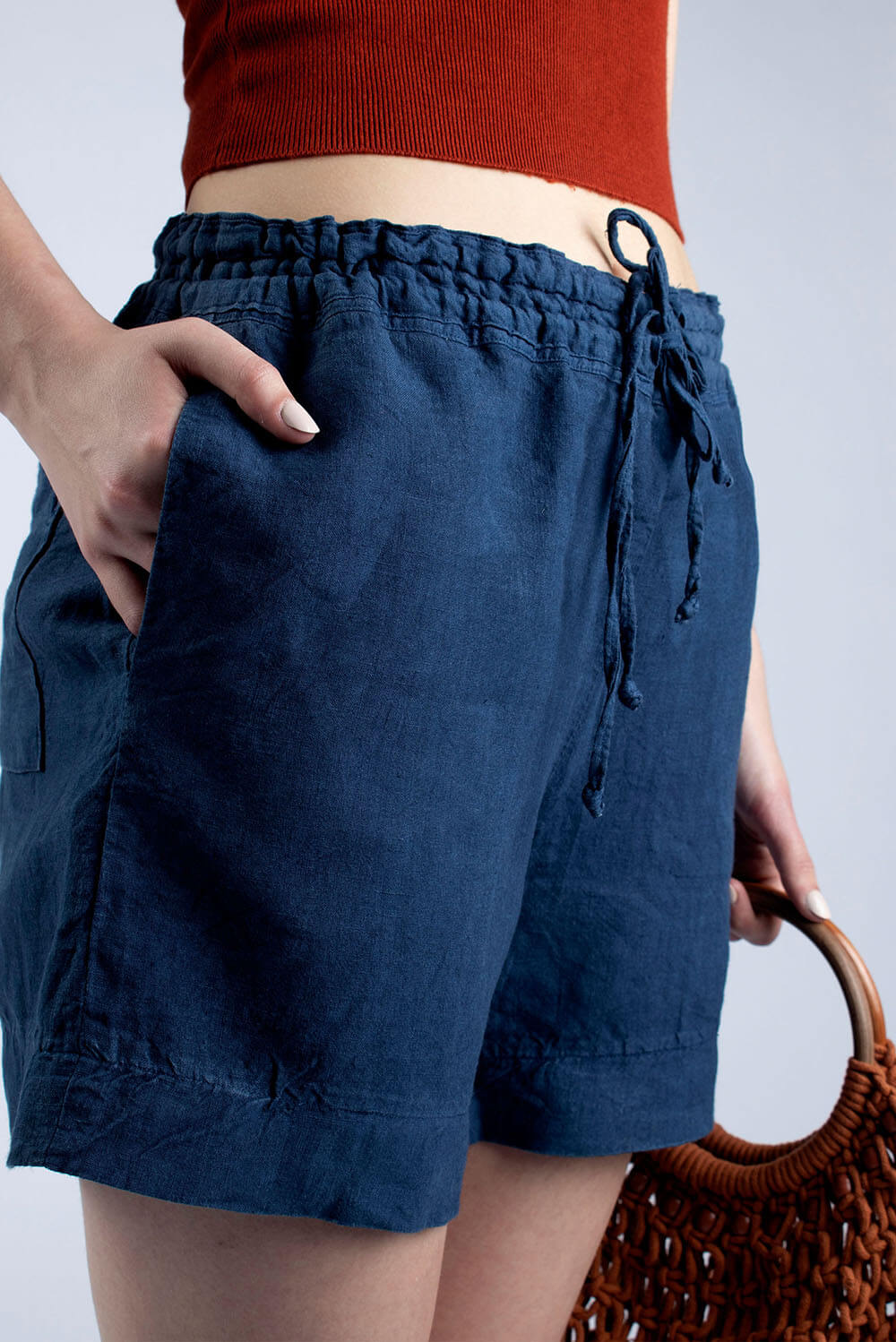 Jeans blue linen draw string shorts
