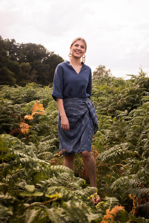 Helen linen tunic and Lydia linen wrap skirt Jeans blue tie dye
