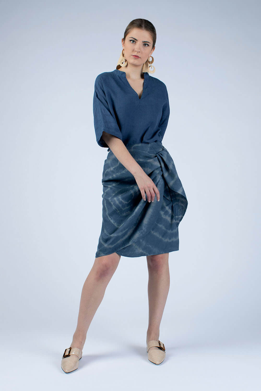 Lydia tie dyed linen wrap skirt with Jeans blue Helen linen tunic