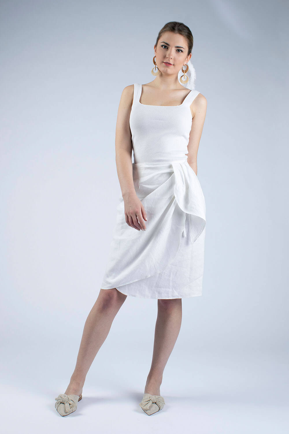 white linen wrap skirt Lydia by Cut Couture