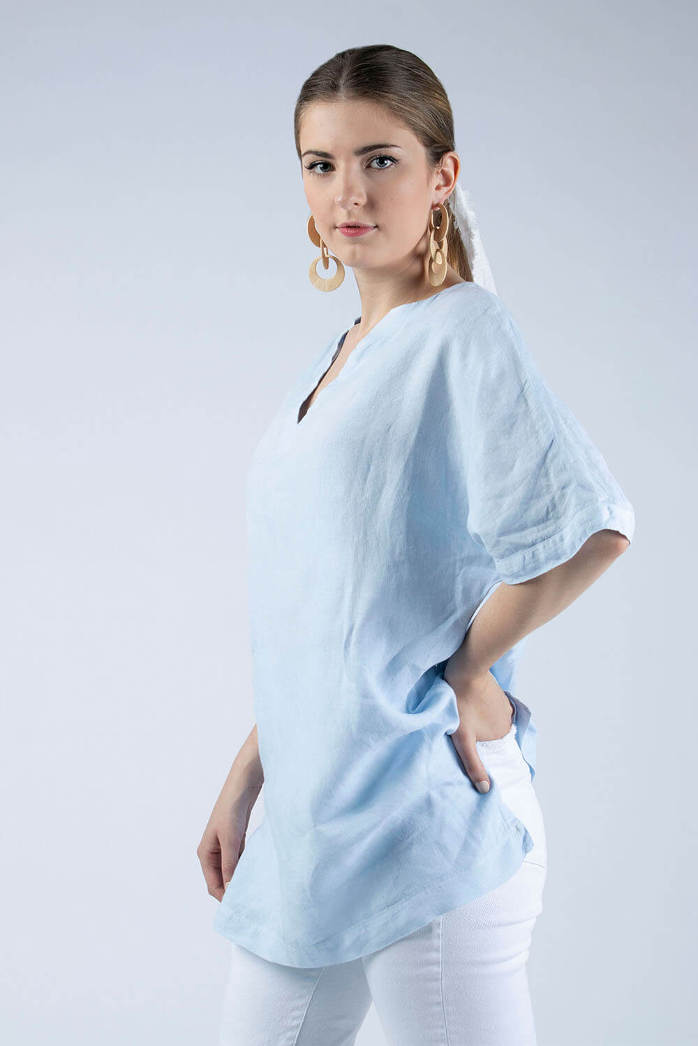 pale blue linen tunic ready to sew kit