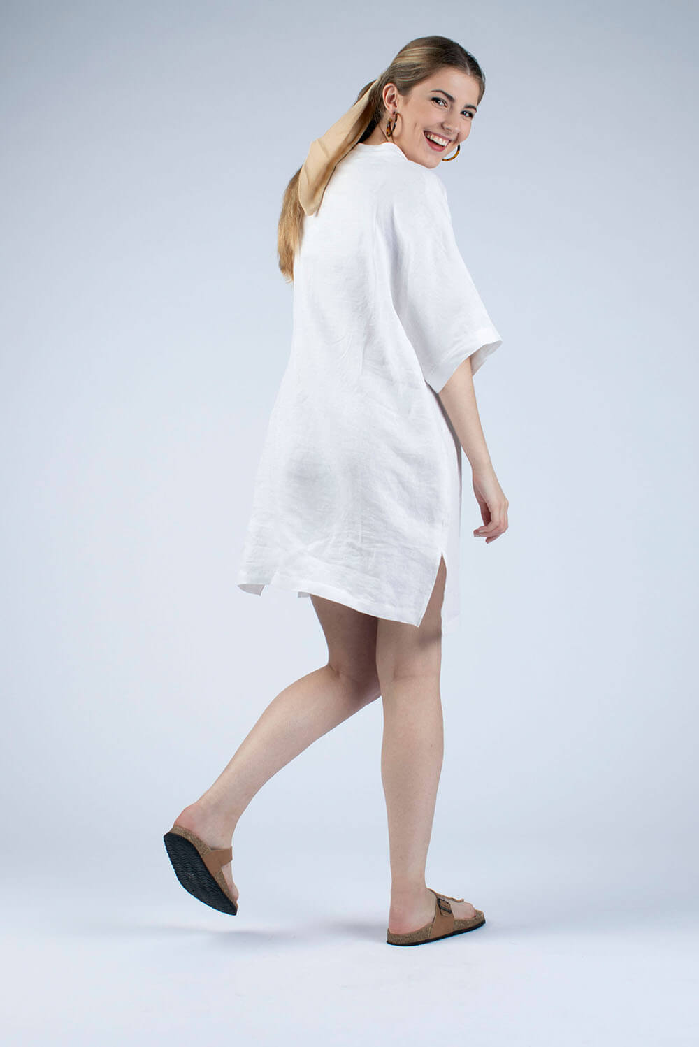 white linen tunic back view by cutcouturekit