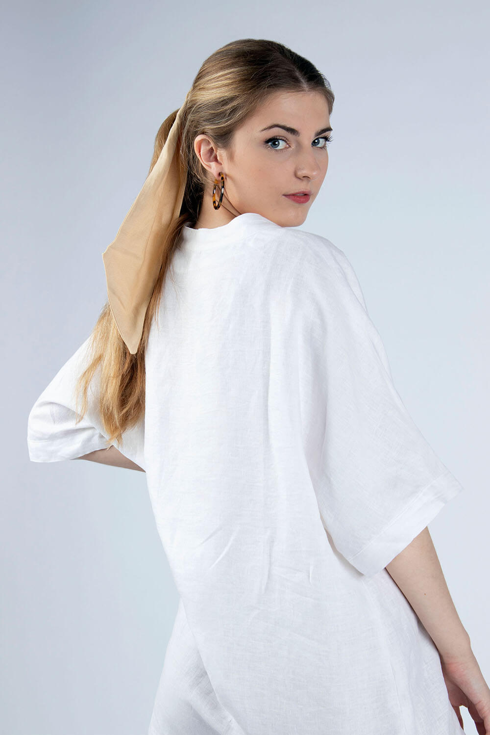 white linen tunic back view Helen