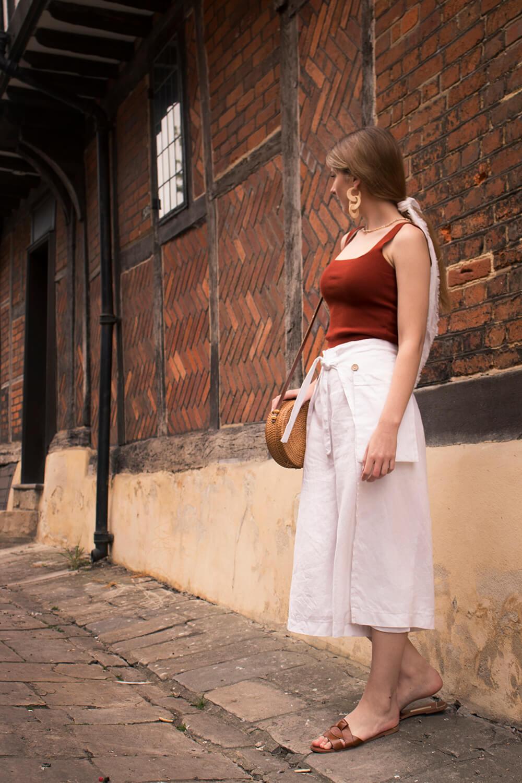 white linen culottes Hilary