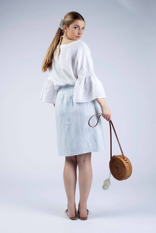 Hannah white linen blouse, back view
