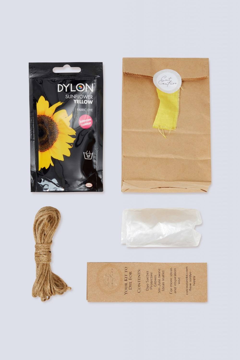 Sunflower yellow Dylon dye jute twine gloves information leaflet with bag and colour swatch