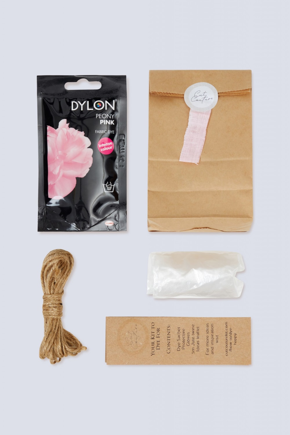 Peony Pink Dylon dye jute twine gloves information leaflet with bag and colour swatch